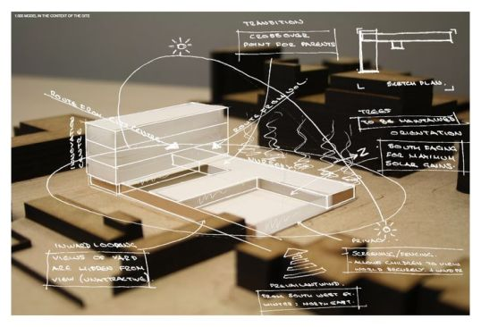 """architecture_apprentice_ """" Initial concept model set within the site model with site analysis and th. Method_ 1. Photograph your model and print the chosen..."""