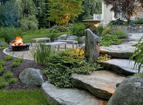backyard fire pit designs _ natural_backyard_rustic_backyard_Landscaping_ fire pits_ design ...