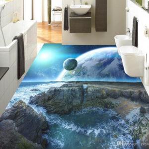 Vinyl Flooring Mural Custom 3D Floor Tiles Cosmic Sky Wall Papers with regard to 3D Floor Murals - Mattkroc.com