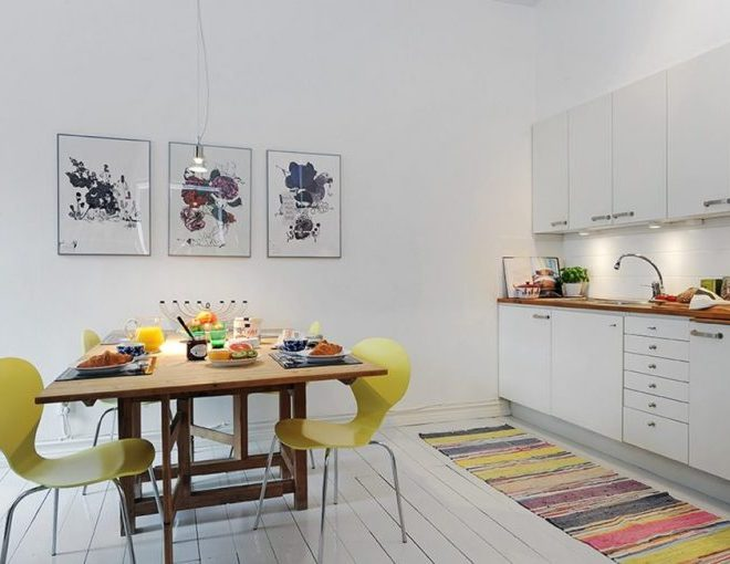 Scandinavian style inspiration: Interior filled with colorful elements