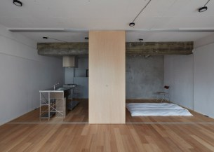 Apartment-with-a-small-floor-plan-and-minimalist-bedroom
