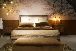 Bedroom-floral-tree-branch-wallpaper-edison-lighting-fixtures