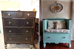 Dresser-turned-into-a-bench