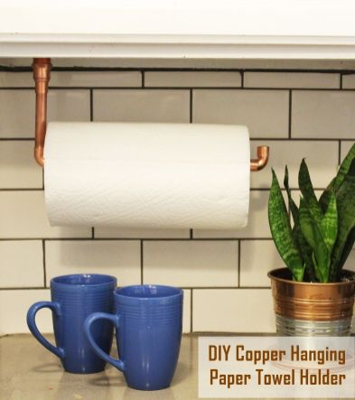 Under-Cabinet-Hanging-Copper-Paper-Towel-Holder