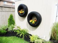 Wall-old-tires-turned-into-planters