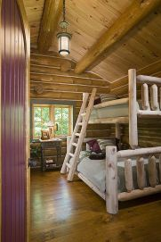 Interior, vertical, bunk room, King residence, Beulah, Michigan, Maple Island Log Homes