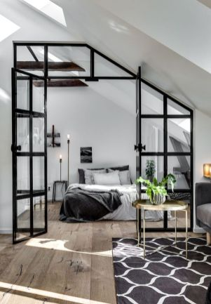 a-cozy-Nordic-bedroom-with-a-bed-nightstands-skylights-table-lamps-and-a-glass-wall-with-a-door-to-connect-it-to-the-rest-of-the-space