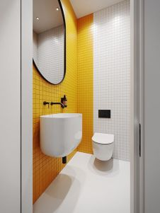 a-minimalist-bathroom-with-a-yellow-tile-accent-wall-black-fixtures-and-a-black-frame-plus-white-appliances-looks-bold
