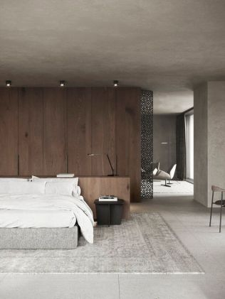 a-modern-zen-bedroom-with-a-wooden-accent-wall-an-upholstered-bed-with-white-bedding-a-black-metal-nightstand-and-lights
