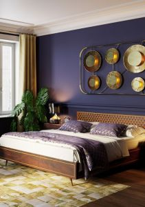 a-refined-tropical-bedroom-with-a-deep-purple-wall-dark-stained-furniture-an-arrangement-with-metallic-plates-a-potted-plant