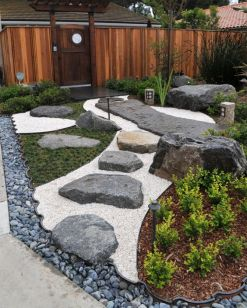 a-stylish-Japanese-front-yard-with-pebbles-rocks-greenery-a-rock-path-and-lanterns-is-a-lovely-modern-decor-idea