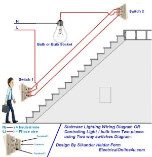 How To Control A Lamp  Light Bulb From Two Places Using