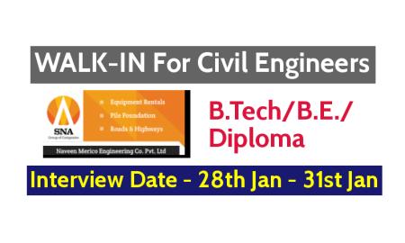 Naveen Merico Engineering Co Pvt Ltd WALK-IN For Civil Engineers - Interview Date - 28th Jan - 31st Jan