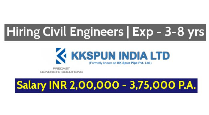 KK SPUN INDIA LIMITED Hiring Civil Engineers | Exp - 3-8 yrs | Salary INR 2,00,000 - 3,75,000 P.A.