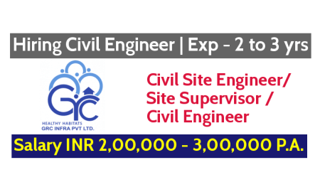 GRC Infra Pvt Ltd Hiring Civil Engineer Exp - 2 to 3 yrs Salary INR 2,00,000 - 3,00,000 P.A.