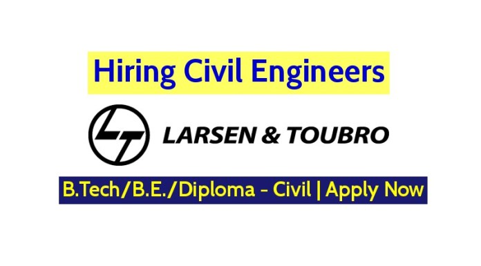 Larsen & Toubro Limited Hiring Civil Engineers - B.TechB.E.Diploma - Civil Apply Now