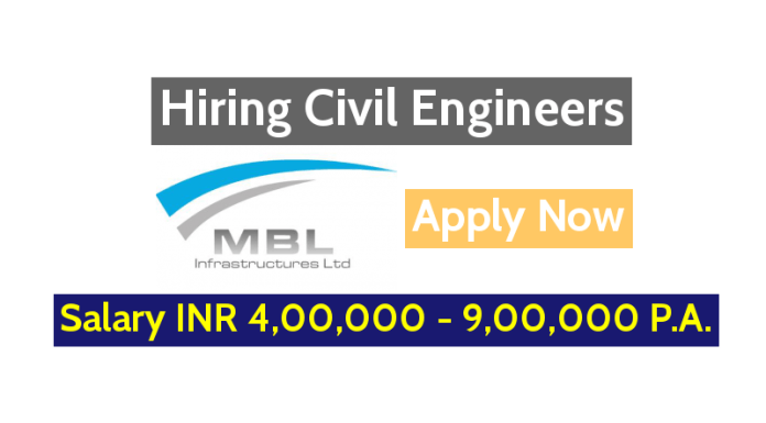 MBL Infrastructures Limited Hiring Civil Engineers - Salary INR 4,00,000 - 9,00,000 P.A. - Apply Now