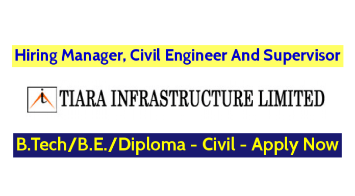 Tiara Infrastructure Ltd Hiring Manager, Civil Engineer And Supervisor - Apply Now