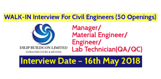 Dilip Buildcon Ltd WALK-IN Interview For Civil Engineers (50 Openings) – Interview Date – 16th May 2018