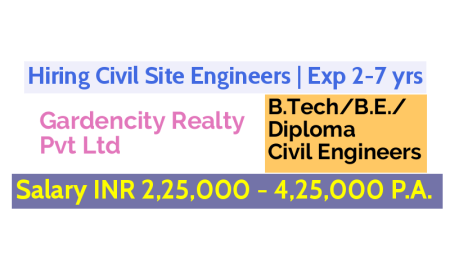 Gardencity Realty Pvt Ltd Hiring Civil Site Engineers Exp 2-7 yrs Salary INR 2,25,000 - 4,25,000 P.A.