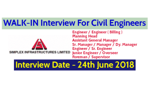 Simplex Infrastructures Limited WALK-IN For Civil Engineers Interview Date - 24th June 2018