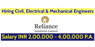 Reliance Jio Infocomm Ltd Hiring Civil, Electrical & Mechanical Engineers Salary INR 2,00,000 - 4,00,000 P.A.