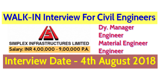 Simplex Infrastructures Limited WALK-IN For Civil Engineers Interview Date - 4th August 2018