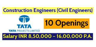 ata Projects Limited Hiring Construction Engineers (Civil Engineers) 10 Openings Salary INR 8,50,000 – 16,00,000 P.A.