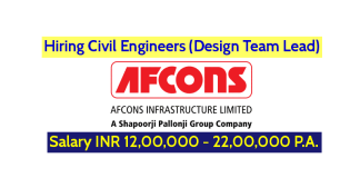 Afcons Infrastructure Ltd Hiring Civil Engineers (Design Team Lead) Salary INR 12,00,000 - 22,00,000 P.A.