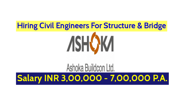 Ashoka Buildcon Ltd Hiring Civil Engineers For Structure & Bridge Salary INR 3,00,000 - 7,00,000 P.A.