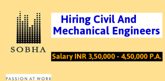 Hiring Civil & Mechanical Engineers Sobha Limited Salary INR 3,50,000 - 4,50,000 P.A.