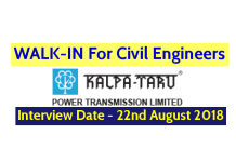 Kalpataru Power Transmission Ltd WALK-IN For Civil Engineers Interview Date - 22nd August 2018