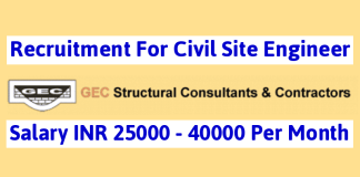 Recruitment For Civil Site Engineer GEC Structural Consultant & Contractor