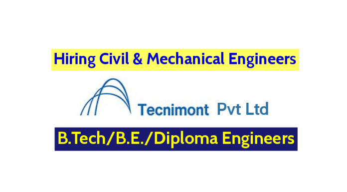 Tecnimont Pvt Ltd Hiring Civil & Mechanical Engineers B.TechB.E.Diploma Engineers