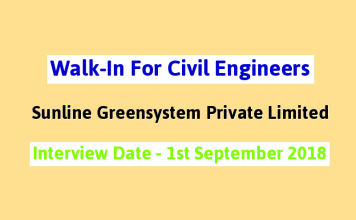 Walk-In For Civil Engineers 0-5 yrs Sunline Greensystem Private Limited