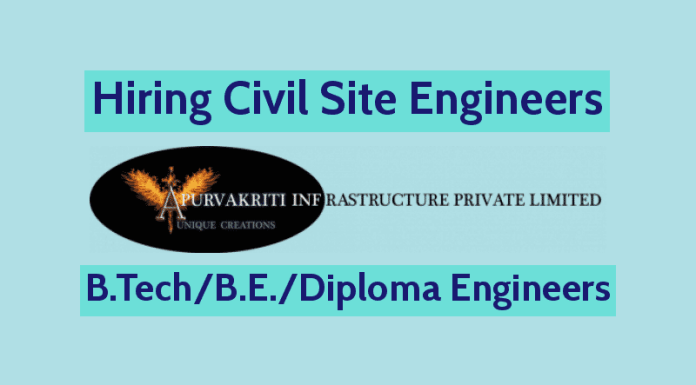 Apurvakriti Infrastructure Pvt Ltd Hiring Civil Site Engineers B.TechB.E.Diploma Engineers