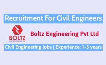 Boltz Engineering Pvt Ltd Recruitment For Civil Engineers Experience 1-3 years Civil Engineering Jobs