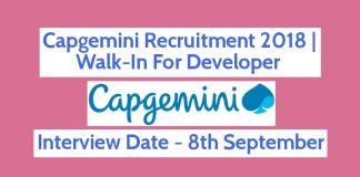 Capgemini Recruitment 2018 Walk-In For Developer 8th September B.TechB.E.BCAMCA Hyderabad