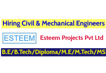 Esteem Projects Pvt Ltd Hiring Civil & Mechanical Engineers B.EB.TechDiploma M.EM.TechMS