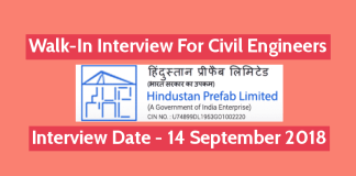 Hindustan Prefab Limited Recruitment Walk-In For Civil Engineers Interview Date - 14 September 2018
