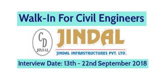 Jindal Infrastructures Pvt Ltd Walk-In For Civil Engineers Interview Date 13th September - 22nd September 2018