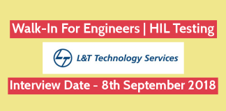 L&T Technology Services Walk-In For Engineers HIL Testing 8th Sep 2018 Pune