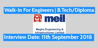 MEIL Walk-In For Engineers B.TechDiploma Interview Date 11th September 2018
