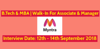 Myntra Recruitment 2018 B.Tech & MBA Walk-In For Associate & Manager 12th - 14th September 2018