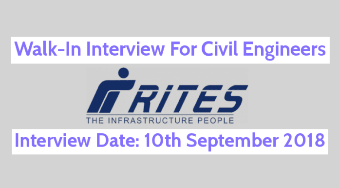RITES Limited Recruitment 2018 Walk-In For Civil Engineers Interview Date 10th Sept 2018