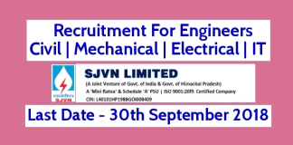 SJVN Ltd Recruitment For Engineers - Civil Mechanical Electrical IT Last Date - 30092018