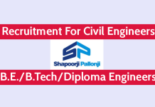 Shapoorji Pallonji Recruitment For Civil Engineers For High Rise Building Projects B.E.B.TechDiploma Engineers