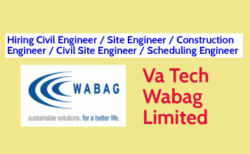 Va Tech Wabag Limited Hiring Civil Engineer Site Engineer Construction Engineer Civil Site Engineer Scheduling Engineer