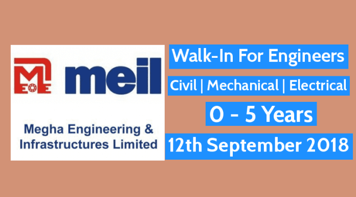 Walk-In For Engineers Civil Mechanical Electrical 0 - 5 Years 12th September 2018