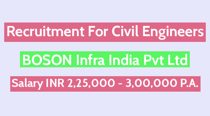 BOSON Infra India Pvt Ltd Recruitment For Civil Engineers Salary INR 2,25,000 - 3,00,000 P.A.